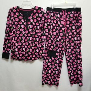 Betsey Johnson Pajamas Pink Floral Print Size XL